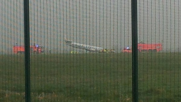 The plane was blocking the main runway at the airport (Pic: Gerry Dungan)