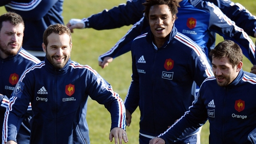 Outhalf Frederic Michalak (left) and centre Florian Fritz (right) come into the France XV