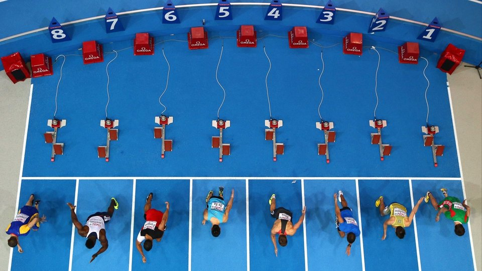 A general view of the start in the Men's 60m heats at the European Indoor Championships in Gothenburg