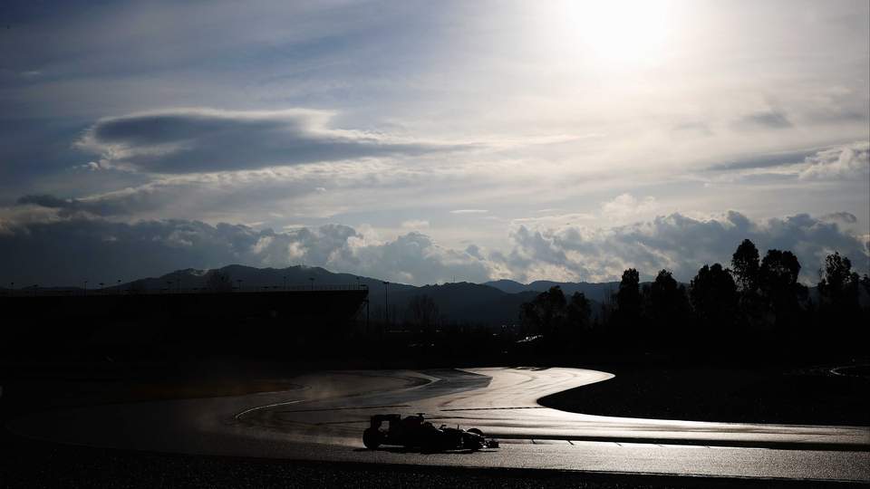 Mark Webber of Red Bull Racing during day one of Formula One winter test at the Circuit de Catalunya