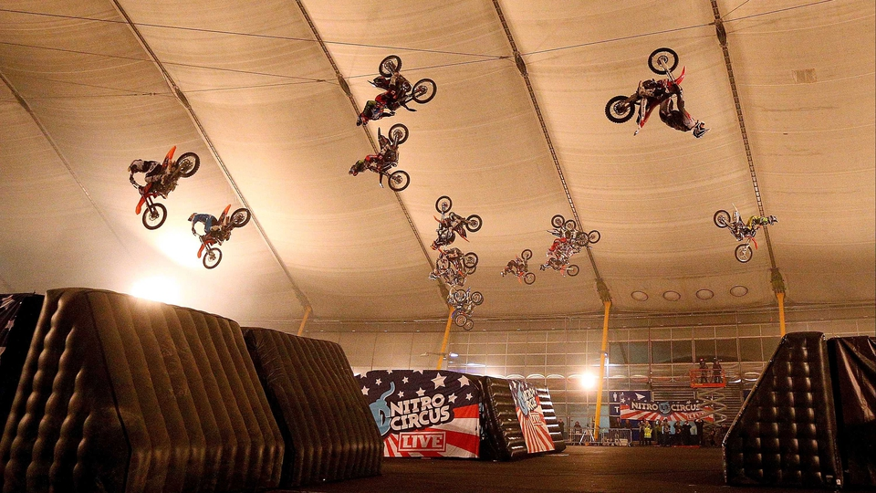 Team Nitro Circus sets a simultaneous back-flip Guinness World Record at 02 Arena in London