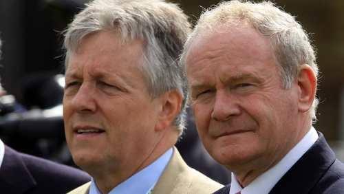 Martin McGuinness (R), pictured with Peter Robinson, says he will defend the peace process from attack from whatever quarter
