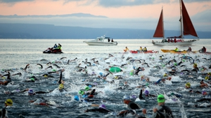Athletes start the New Zealand Ironman in Taupo, New Zealand