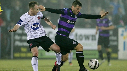 Dundalk's Stephen O'Donnell vies for posession with Rovers' James Chambers