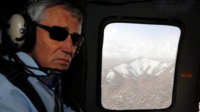 US Defense Secretary Chuck Hagel flies aboard a military helicopter from Kabul to Bagram Air Field