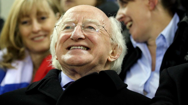 President Michael D Higgins enjoyed the action in Ashbourne on Friday night