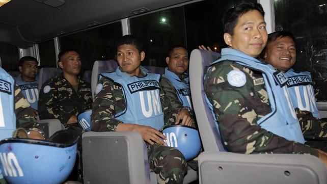 Filipino peacekeepers were held in the village of Jamla before their release