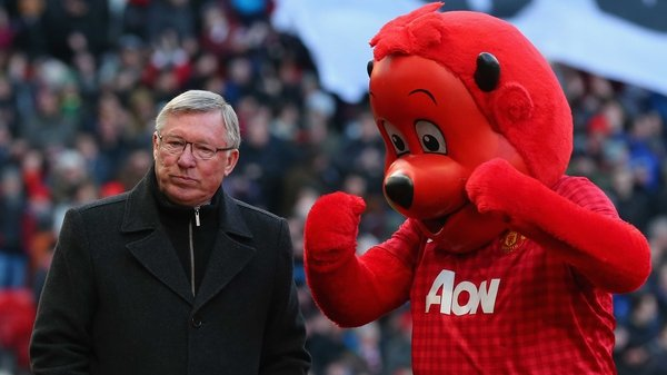"""You need a clock like Flavor Flav"": former Manchester United manager Alex Ferguson and the team's mascot Fred the Red"
