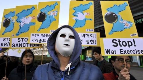 Anti-war activists in Seoul demonstrate against military drills on the Korean Peninsula