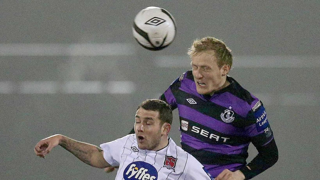 Derek Foran (purple) with Kurtis Byrne (white)