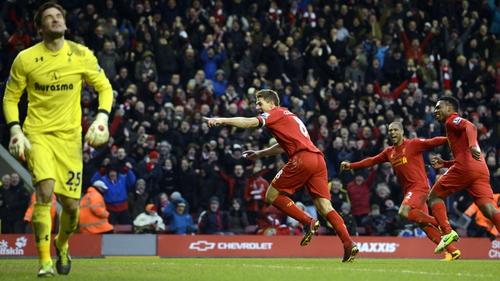 Steven Gerrard scores the winner for Liverpool yesterday