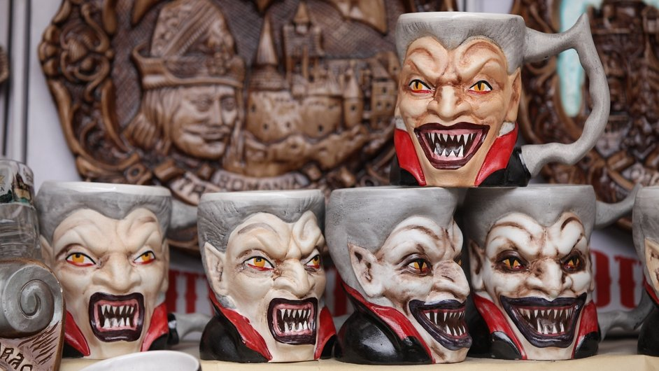 Mugs on sale outside 'Dracula's Castle' in Brasov, Transylvania. Romania has launched a tourism drive to try to boost its economy