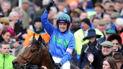 Ruby Walsh celebrates victory in the feature race on Hurricane Fly
