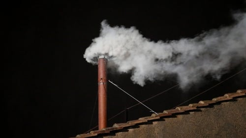 White smoke appeared from the chimney of the Sistine Chapel just after 6pm Irish time
