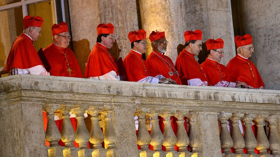 Cardinals looked on as Pope Francis addressed the crowds