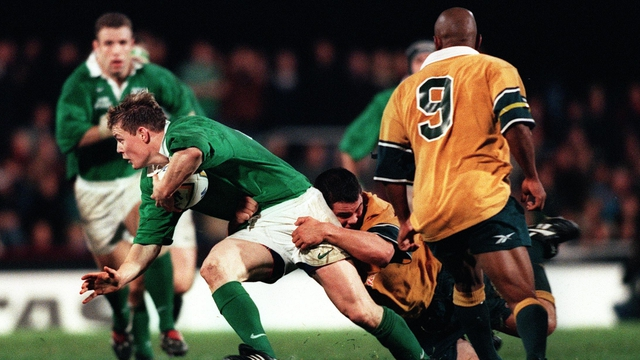 Brian O'Driscoll wins his first cap against Australia in 1999 - George Gregan, the only player with more Test caps than him is in the foreground