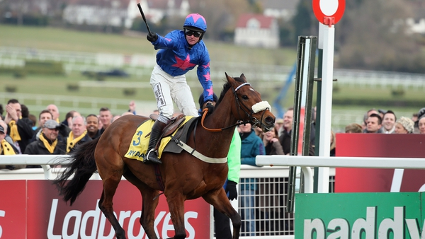 Cue Card ran out an ultra-impressive winner of the Ryanair Chase at Prestbury Park