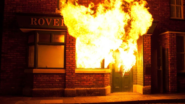 The Weatherfield local goes up in flames this week