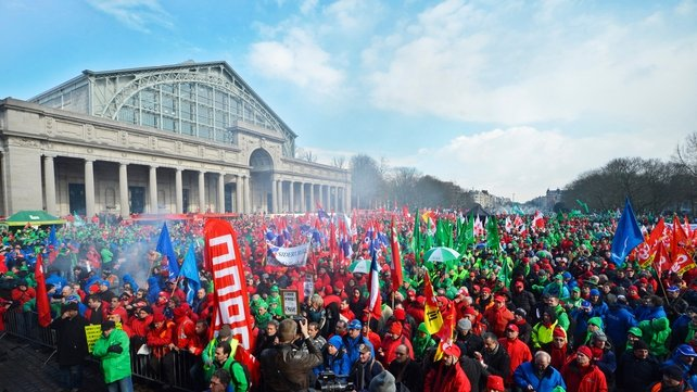 Union delegations from several EU countries participate in a demonstration against budget cuts in Brussels