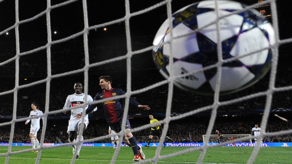 Lionel Messi celebrates scoring Barcelona's third goal in his team's emphatic Champions League win
