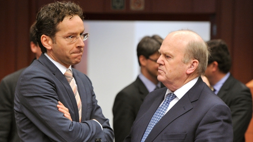 Finance Minister Michael Noonan speaks to Dutch Finance Minister and Eurozone President Jeroen Dijsselbloem ahead of the Cyprus talks