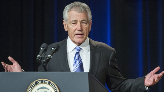 US Defence Secretary Chuck Hagel says America  is no longer ruling out arming Syrian rebels