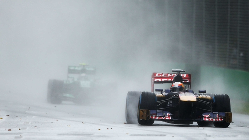A view of the wet conditions at Albert Park