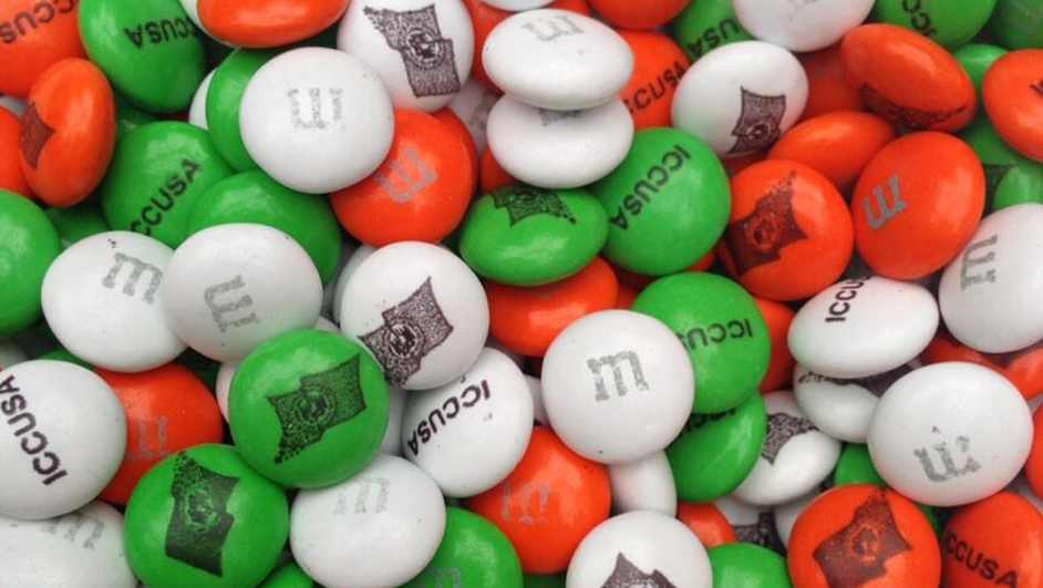 A Twitter pic from @downesr in New York - St Patrick's Day M&Ms