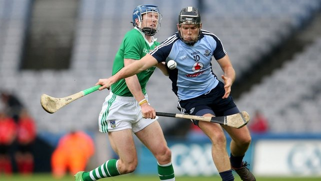 Dublin dual star Conal Keaney goes past Seamus Hickey of Limerick