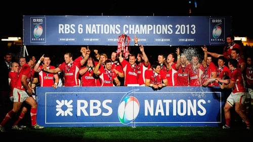 Wales lift the RBS 6 Nations Championship trophy