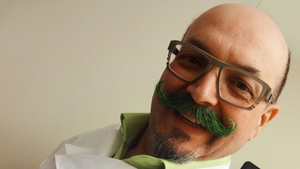 Canadian chef Massimo Capra shows off his green moustache