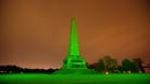 Well-known landmarks bathed in green