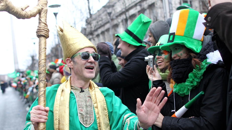 St Patrick was on hand to greet some of the thousands of spectators