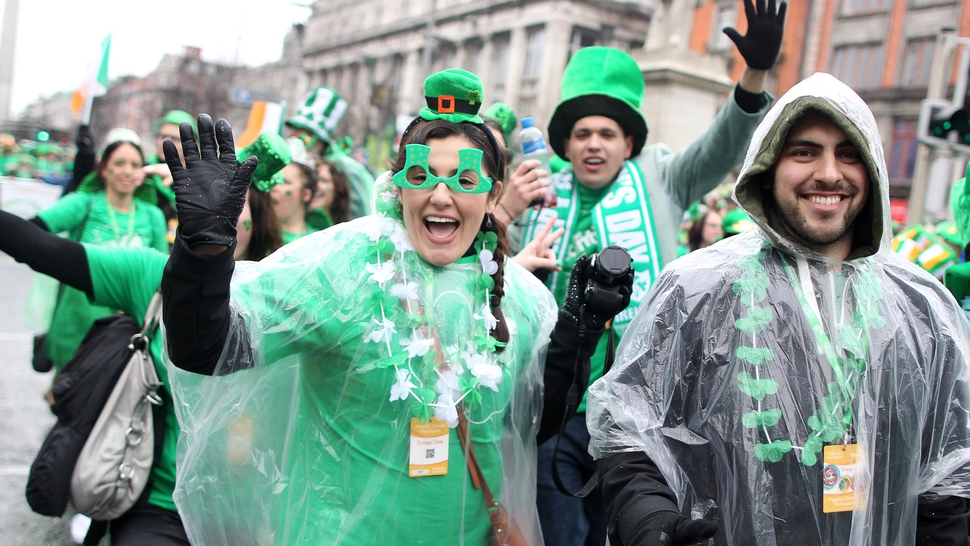Spirits were high at the Dublin parade despite the rain