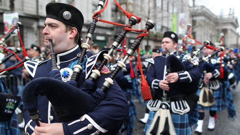 Members of the New York City Fire Department played the bagpipes during the parade in Dublin