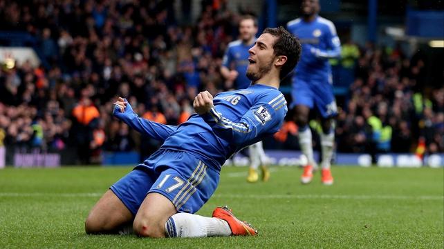 Eden Hazard celebrates scoring Chelsea's second goal