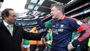 Curran speaking to RTÉ's Marty Morrissey after the All-Ireland triumph