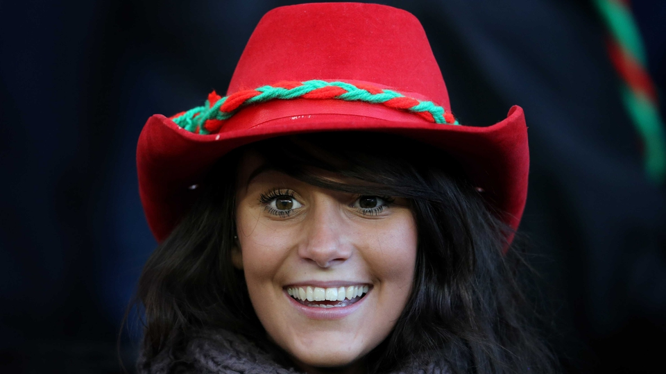 A St Brigid's fan looks happy before the game