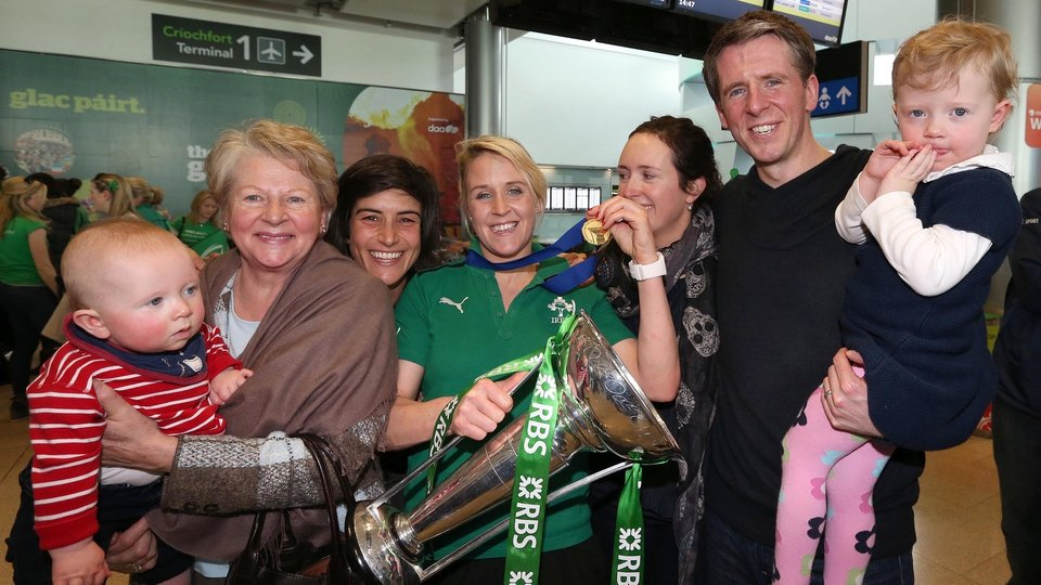 Joy Neville celebrates with her family