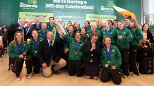The Irish team celebrates