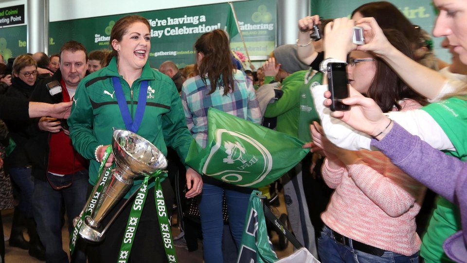 Fiona Coughlan arrives with the trophy
