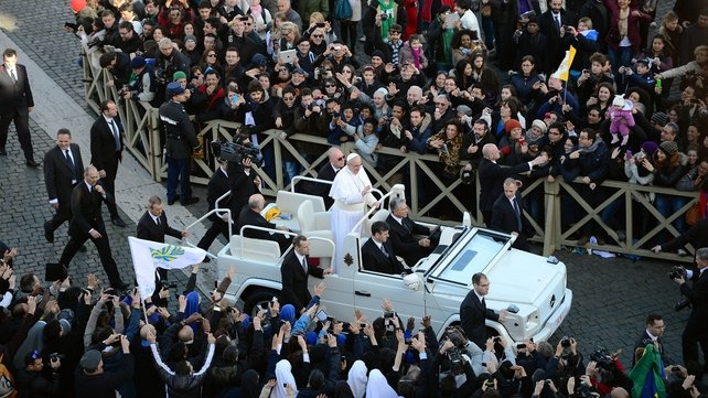 Before the mass, the Pope toured St Peter's Square in an open white jeep