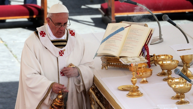The mass was rich in the symbolism that links Pope Francis to the first pope