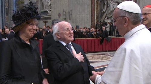 President Michael D Higgins and his wife Sabina Coyne meet Pope Francis