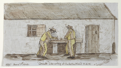 "'Convicts"" Letter writing at Cockatoo Island N.S.W. ""Canary Birds"", by Phillip Doyne Vigours reproduced with permission from the State Library of NSW"