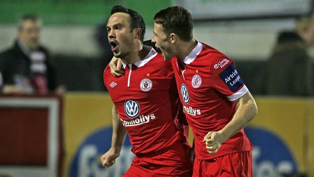 Goal scorer Raffaele Cretaro (L) and Lee Lynch celebrate Sligo's early opener