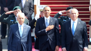 Barack Obama was greeted in Tel Aviv by Shimon Peres and Benjamin Netanyahu