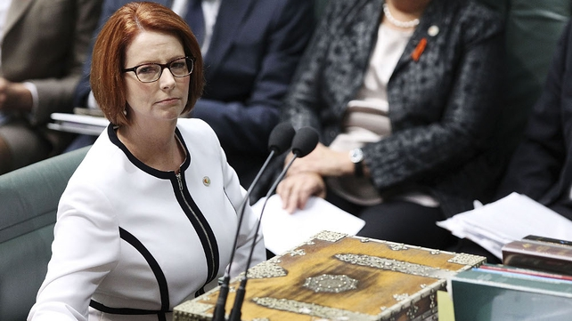Julia Gillard made the apology at Parliament House in Canberra in the presence of hundreds of victims