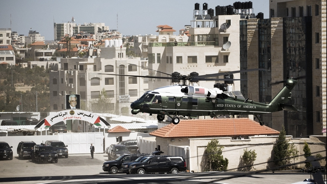 Barack Obama flew by helicopter to the Palestinian government headquarters in Ramallah