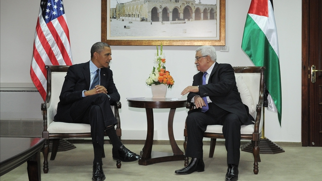 President Mahmoud Abbas welcomes President Obama to Palestine
